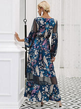 Load image into Gallery viewer, Floral Print V Neck Long Sleeve Beach Maxi Dress