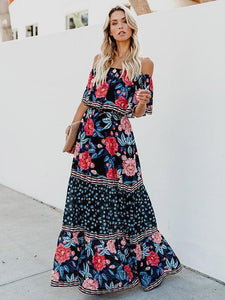 Floral Off Shoulder Beach Maxi Dress
