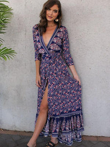 Print V Neck Side Split Bohemia Maxi Dress