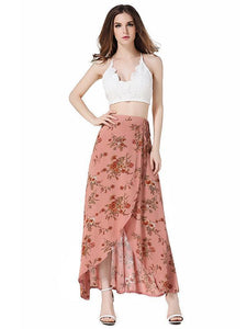 Flower High Waist Split Beach Maxi Skirt