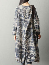 Load image into Gallery viewer, Print Loose Casual Pocket Linen Cotton Dress