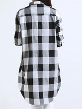 Load image into Gallery viewer, Women Long Sleeve Boyfriend Scottish Plaid Pockets Button Blouses