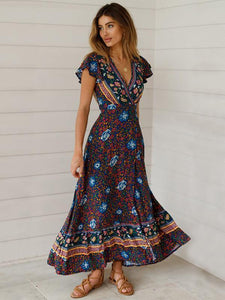 Bohemia V-neck Printed Beach Maxi Split Dresses