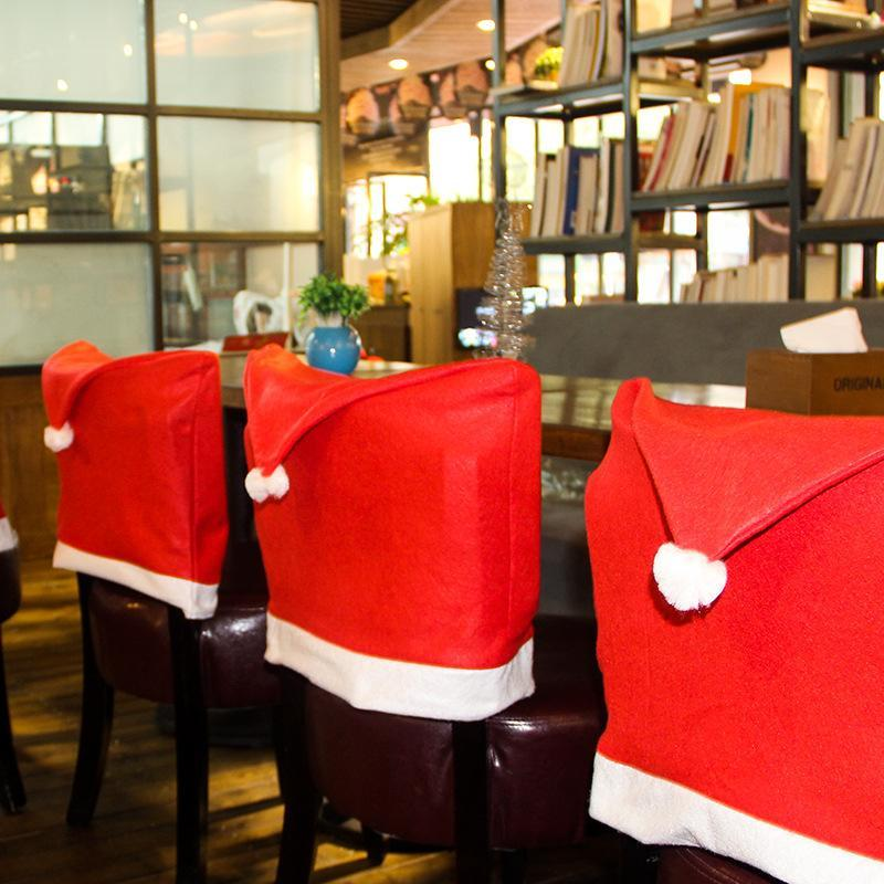 New Santa Red Hat Chair Covers Christmas Decorations Dinner Chair Xmas Cap Chair Backrest Deco Coating Home Decoration