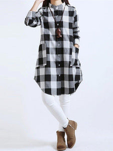 Women Long Sleeve Boyfriend Scottish Plaid Pockets Button Blouses