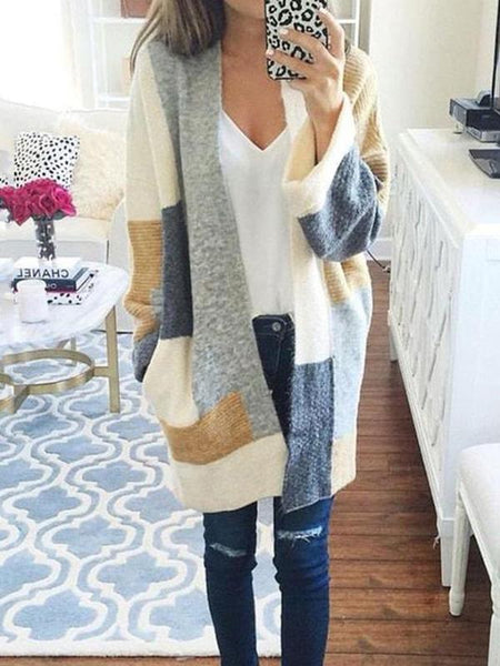 Color Matching Knitting Long Sleeves Cardigans Tops