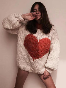 Fashion Knitting Loose Sweet heart Sweater Tops