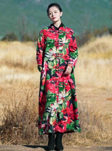 Load image into Gallery viewer, National Style Floral Retro Slim Long Cotton Velvet Robes Coat