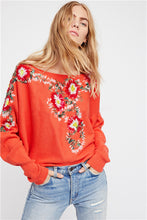 Load image into Gallery viewer, Bohemian national style crew neck flower embroidery thread loose sweater coat