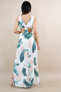 Sexy Printed V Neck Sleeveless Backless Split Maxi Dress