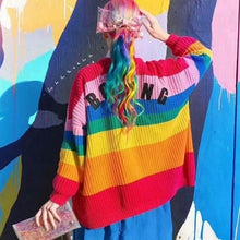 Load image into Gallery viewer, Colorful Rainbow Striped Long Sleeve Button Cardigan Sweater