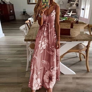 Summer Women Sexy V Neck Spaghetti Strap Beach Maxi Dress
