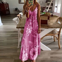 Load image into Gallery viewer, Summer Women Sexy V Neck Spaghetti Strap Beach Maxi Dress