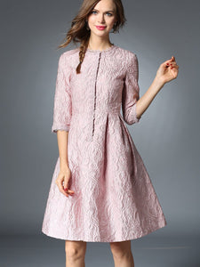 Spring Round Neck Half Sleeve Jacquard Slim Fit Mini Dresses