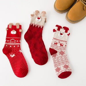 3 Pairs Christmas Winter Warm Deer Elk Xmas Socks Gifts