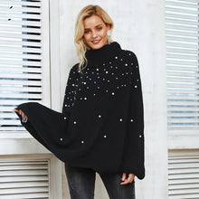 Load image into Gallery viewer, Casual Autumn Turtleneck Beading Knitted Pearl Pullover
