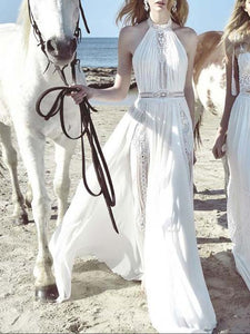 White Lace Halterneck Beach Vacation Maxi Dress