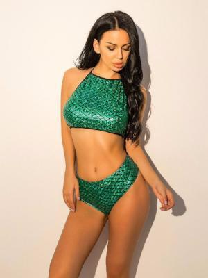 2018 New green Fish Scales beach Swimsuit