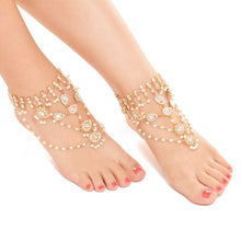 Load image into Gallery viewer, Summer wild beach sandals Multi-layered pearl diamond pendant Foot Anklet