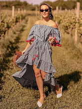 Load image into Gallery viewer, Bohemia Pompoms Knotted Checked Maxi Dress