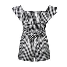 Load image into Gallery viewer, Plaid Off Shoulder Ruffle Backless Belted Rompers
