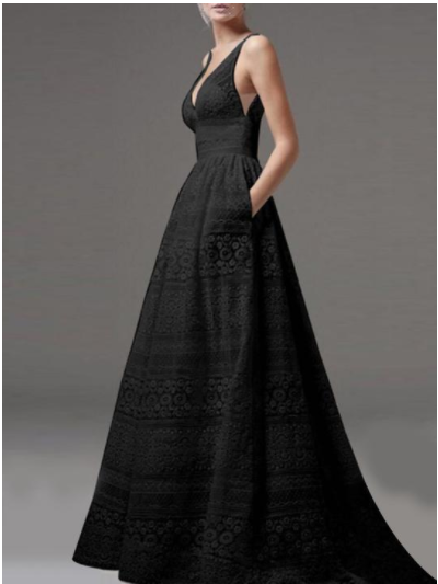Lace Deep V Neck Sleeveless Pockets Evening Dress