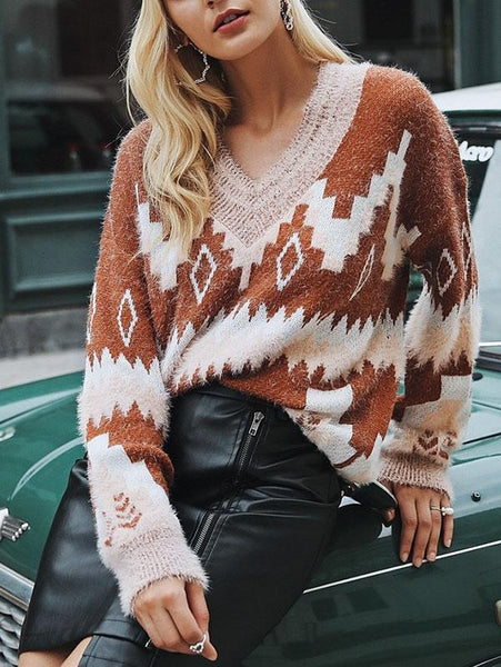 Fashion V Neck Knitting Loose Sweater Tops