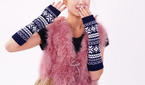 Half refers to the warm knit typing women s thick wool Half palm gloves - 5