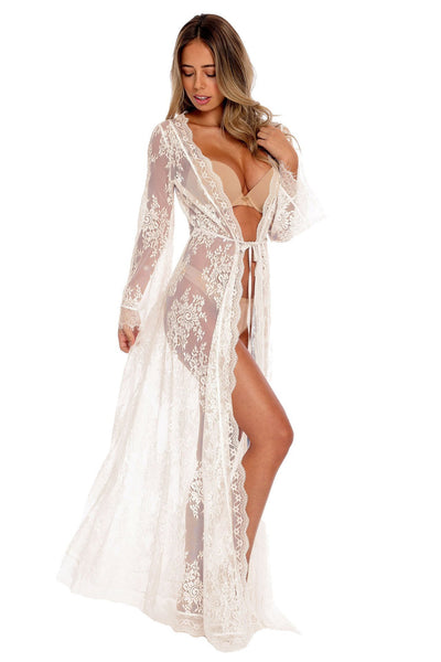 Pretty Long Lace Maxi Beach Dress Cover-up