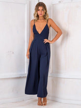 Load image into Gallery viewer, 2018 Sexy Spaghetti Strap Solid Color Wide Leg Pants Jumpsuit Rompers