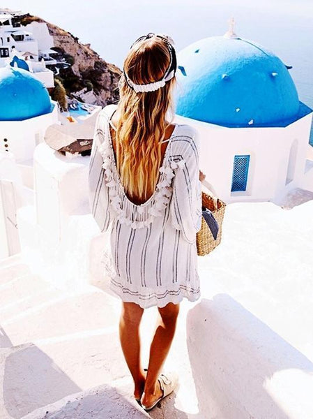 2018 Stripe Long Sleeve Beach Dress