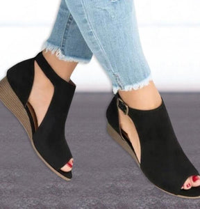Wedge Buckles Mid Heel Peep Toe Sandal Shoes