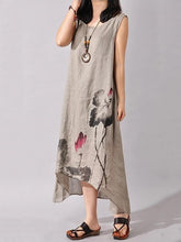 Load image into Gallery viewer, Ink Printed Sleeveless Casual Irregular Dress