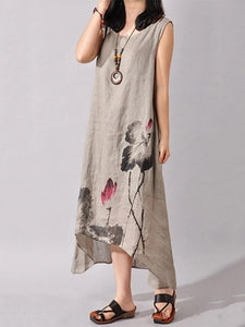 Ink Printed Sleeveless Casual Irregular Dress
