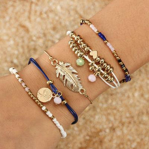 Ethnic Style Creative Alloy Rice Beads Love Leaves Feathers Multi-Layer Bracelet Cord Woven Bracelet Set Of 5