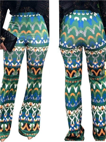 Yt3073 Fashionable Floral Print Green Leisure Pants Women's Printed Micro Trumpet Trousers