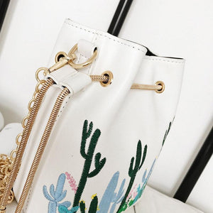 Cacti Pattern Phone Bag String Bucket Bag Chain Shoulder Bags For Women