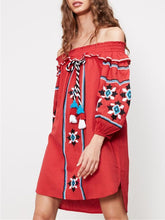 Load image into Gallery viewer, Pretty Embroidery Off-the shoulder Tassels Mini Dress