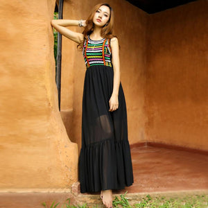 Bohemian Embroidery Slim Chiffon Beach Maxi Dress