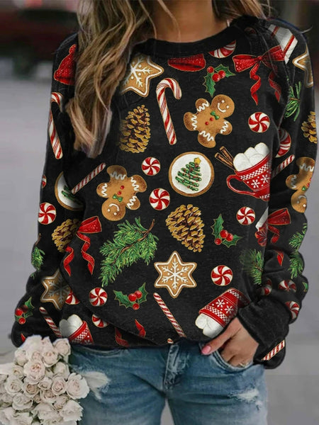 Christmas Women's Printed Round Neck Long Sleeve Fleece Sweater