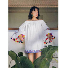 Load image into Gallery viewer, Pom Pom Off Shoulder Long Sleeve Embroidery Summer Mini Dress