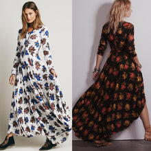 Load image into Gallery viewer, Huge Hem Temperament dress long-sleeved flower print dress