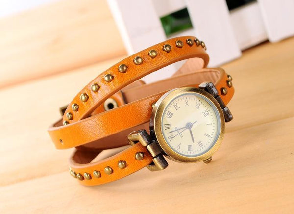 Three Rounds Watch Winding Digital Female Fashion Watch