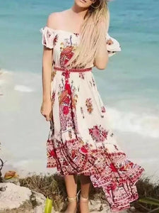 Pretty Bohemia Floral Off Shoulder Short Sleeve Beach Dress Maxi Dress