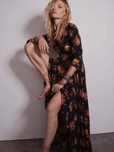 Huge Hem Temperament dress long-sleeved flower print dress