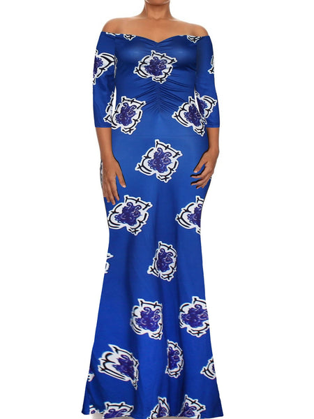 Print Off Shoulder Long Sleeve Evening Gown Maxi Long Dress