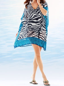 Chiffon Stripe Printed Loose Plus Size Beach Cover Up