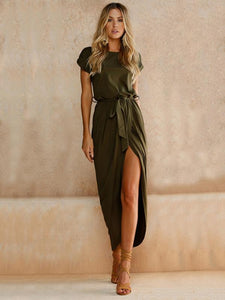 Solid Color Split-front Round-neck Maxi Dress