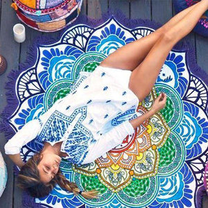 Hot Sale Lotus digital printing fringed beach towel sun shawl Variety scarf yoga cushion Mat