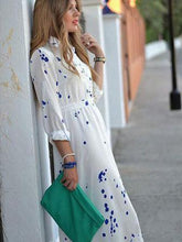 Load image into Gallery viewer, Fashion Floral-Printed Long Sleeve Lapel Collar Floor Maxi Dress